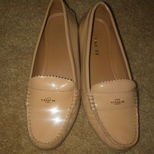Nude patent leather coach loafers